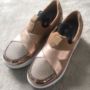 Slip on with rose gold gem accents